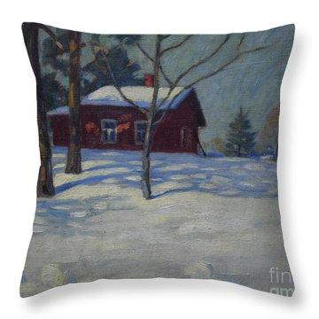 Winter House Throw Pillow