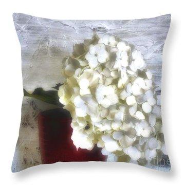 Winter Hydrangea Throw Pillow by Marsha Heiken