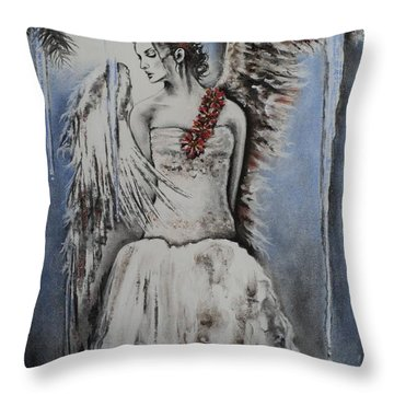 Winter Ice Angel Throw Pillow by Carla Carson