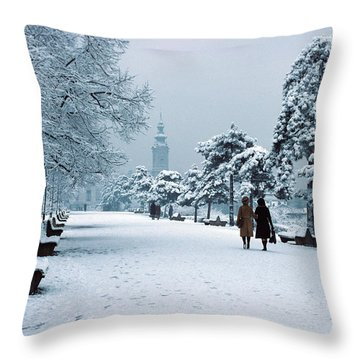 Winter In Belgrade Throw Pillow