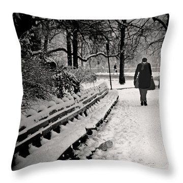 Winter In Central Park Throw Pillow by Madeline Ellis