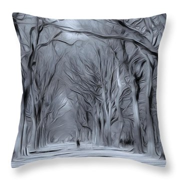 Throw Pillow featuring the digital art Winter In Central Park by Nina Bradica