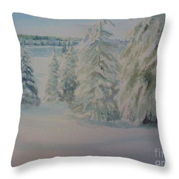 Throw Pillow featuring the painting Winter In Gyllbergen by Martin Howard