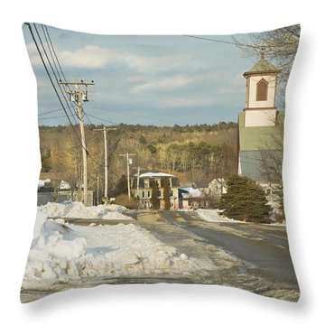 Winter In Round Pond Maine Throw Pillow by Keith Webber Jr
