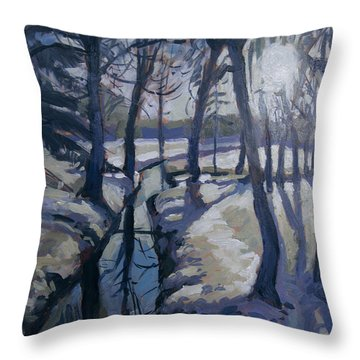 Throw Pillow featuring the painting Winter In The Backyard Forest by Nop Briex