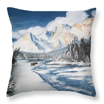 Throw Pillow featuring the painting Winter In The Canadian Rockies by Sharon Duguay