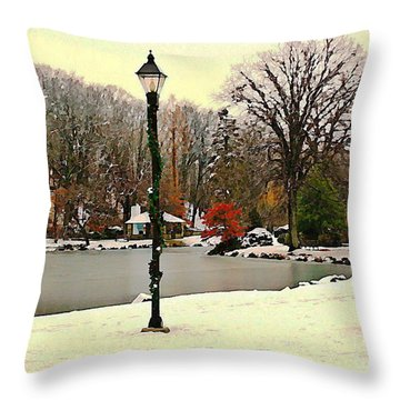 Winter In The Park Throw Pillow by Judy Palkimas