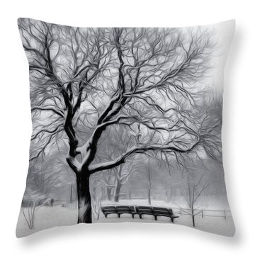Throw Pillow featuring the digital art Winter In The Park by Nina Bradica