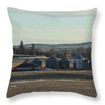 Throw Pillow featuring the photograph Winter Iowa Farmland by Yumi Johnson