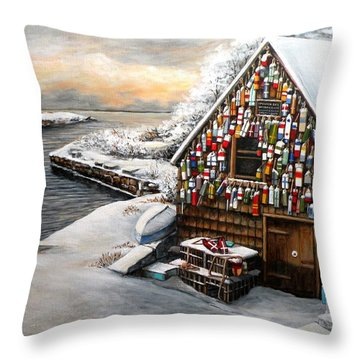 Winter Ipswich Bay Wooden Buoys  Throw Pillow