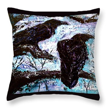 Throw Pillow featuring the painting Winter Is Coming by D Renee Wilson