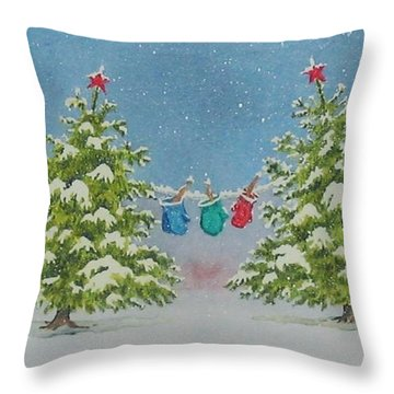 Throw Pillow featuring the painting Winter Is Fun by Mary Ellen Mueller Legault