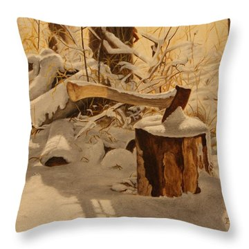 Winter Labour Throw Pillow