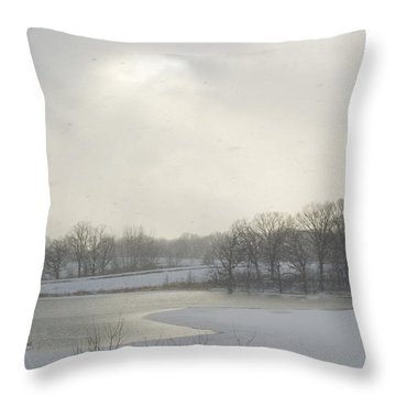 Winter Lake And Forest Throw Pillow