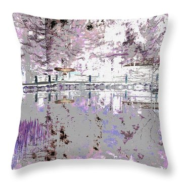 Winter Lake Reflection 		 Throw Pillow by Ann Johndro-Collins