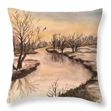 Winter Lake Scene Throw Pillow by Lucia Grilletto
