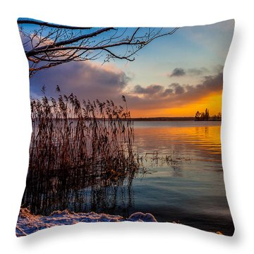 Winter Lake Sunset With A Tree Lighted In Red And Orange  Throw Pillow
