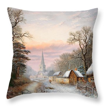 Winter Landscape Throw Pillow by Charles Leaver