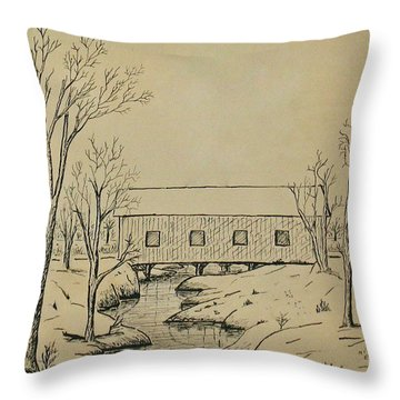 Winter Landscape In Ink Throw Pillow