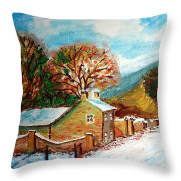 Winter Landscape Throw Pillow by Mauro Beniamino Muggianu