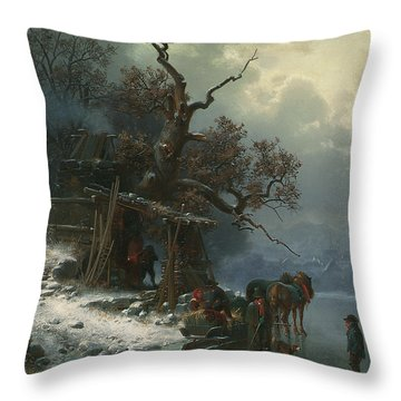 Winter Landscape With Figures On A Frozen River Throw Pillow by Heinrich Hofer