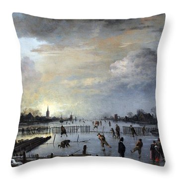 Throw Pillow featuring the painting Winter Landscape With Skaters by Gianfranco Weiss