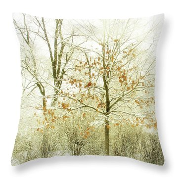 Winter Leaves Throw Pillow by Julie Palencia