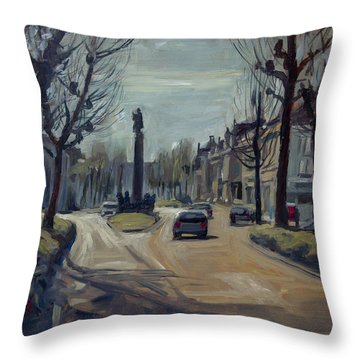 Throw Pillow featuring the painting Winter Light At The Wilhelmina Singel In Maastricht by Nop Briex