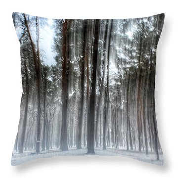 Winter Light In A Forest With Dancing Trees Throw Pillow