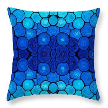 Winter Lights - Blue Mosaic Art By Sharon Cummings Throw Pillow