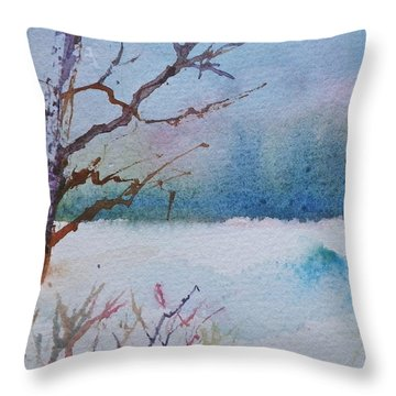 Winter Loneliness Throw Pillow by Anna Ruzsan
