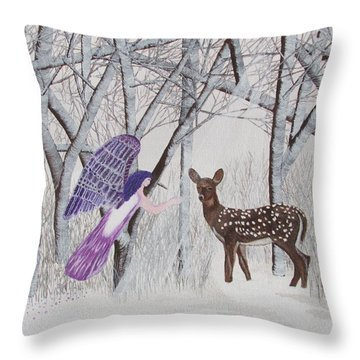 Throw Pillow featuring the painting Winter Magic by Cheryl Bailey