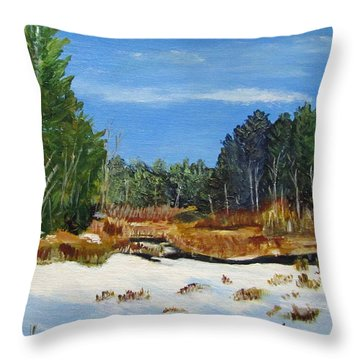 Winter Marsh In Hooksett Throw Pillow