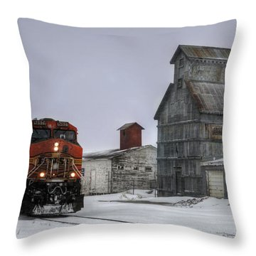 Winter Mixed Freight Through Castle Rock Throw Pillow by Ken Smith