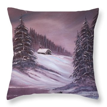 Throw Pillow featuring the painting Winter Moon by Janice Rae Pariza
