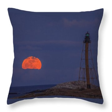 Winter Moon Rising Over Marblehead Light Throw Pillow by Jeff Folger