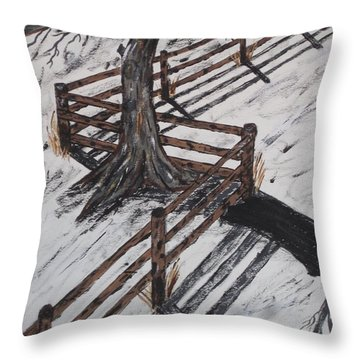 Winter Moon Shadow Throw Pillow