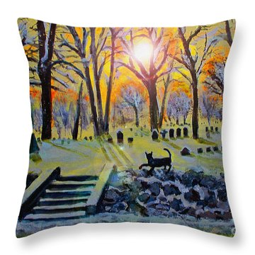 Throw Pillow featuring the painting Winter Morn At Grove Hill by Rita Brown