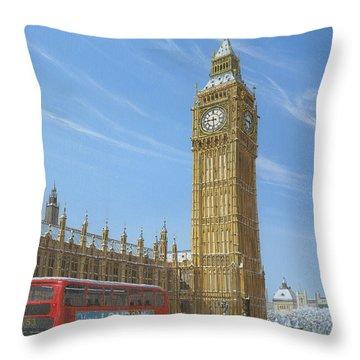 Winter Morning Big Ben Elizabeth Tower London Throw Pillow