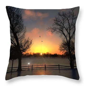 Throw Pillow featuring the photograph Winter Morning by Michael Rucker