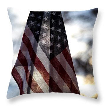 Winter Morning Patriotism Throw Pillow