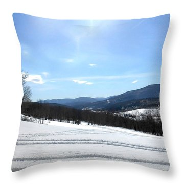 Winter Mountain Views Of Vly And Hunter Throw Pillow by Patricia Keller
