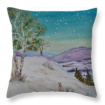 Winter Mountains With Hare Throw Pillow
