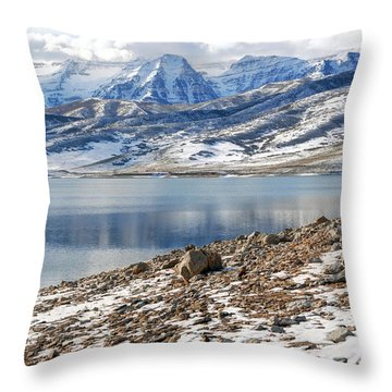 Winter Mt. Timpanogos And Deer Creek Reservoir Throw Pillow by Gary Whitton
