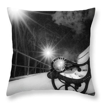 Winter Night Along The River Throw Pillow