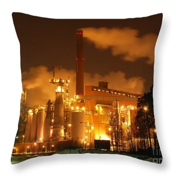 Winter Night At Sunila Pulp Mill Throw Pillow