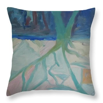 Throw Pillow featuring the painting Winter Night Shadows by Francine Frank