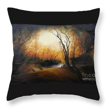 Winter Night Throw Pillow by Sorin Apostolescu