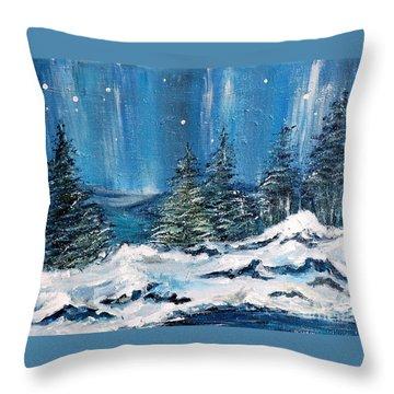 Winter Night Throw Pillow by Teresa Wegrzyn