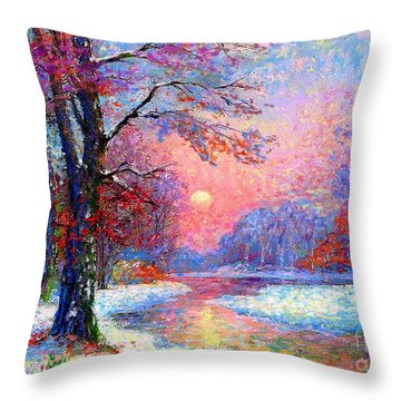 Winter Nightfall, Snow Scene  Throw Pillow